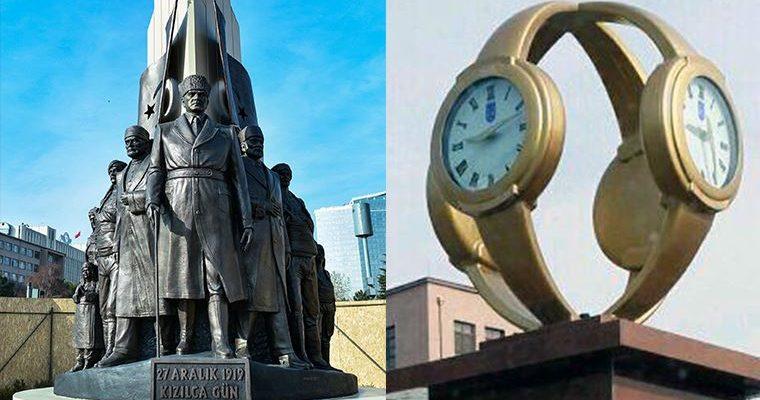 'Kol saati' yerine Atatürk heykeli
