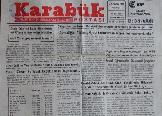 KARABÜK POSTASI GÜNLÜK SİYASİ MEMLEKET GAZETESİ 3 AĞUSTOS 1992