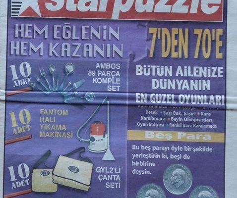 HAFTALIK BULMACA DERGİSİ MEGA STARPUZZLE 01 EYLÜL 1999